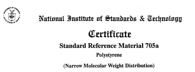 NIST Certificate for Standard Reference Material 705a